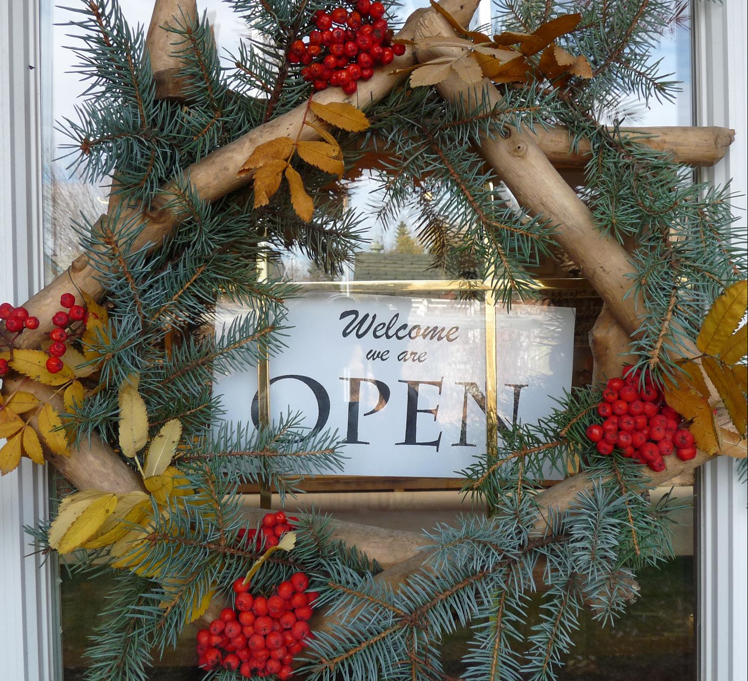 wreath on front door open.jpg