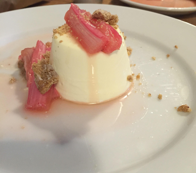 mmmm panna cotta and honey roasted rhubarb