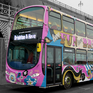 Funky design for Brighton bus...   Creating this bus was a joy for Starfish's creative team.Taking inspiration from the fun fair at the end of Brighton Palace Pier, the bright, colourful swirls and gold metallic vinyl letters, really make this bus stand out.  Keep your eyes peeled for it around Brighton and drop us a line if you spot it!