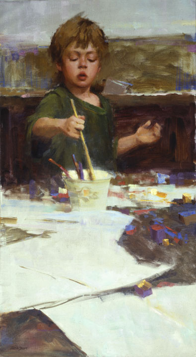"""THE PAINTER""    oil   36"" x 20""   1990"
