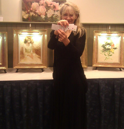 Nancy, at her sell out show, with Kristen Thies curator and owner of West Wind Fine Art Gallery.