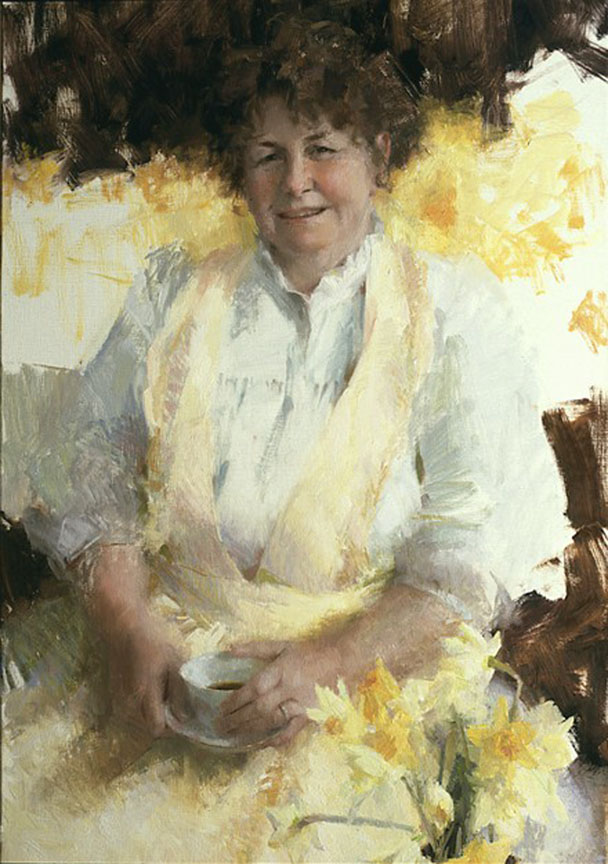 """TEA WITH MRS. SEAY""    40x24  oil  1998   sold"