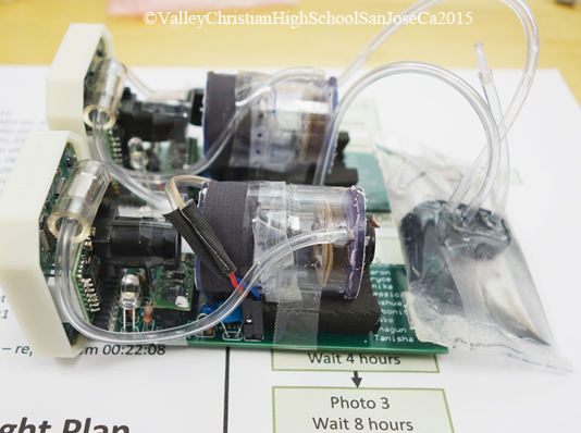 The artworks were loaded aboard the students' Vibration Experiment. This is the experiment that caught the attention of NASA's leading scientists. The experiment was sent to NASA after qualification checks were done, and is now traveling with the artworks in space on the International Space Station.(Now in orbit thanks to Valley Christian High School, San Jose, CA. http://www.vcs.net/ )
