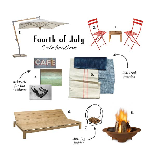 1. Pendulum Umbrella by Country Casual 2. Bistro Metal Chair Capucine by Viesso 3. Pure Side Table Square by Janus et Cie 4. Cafe, Morning Ocean and Free Fall by Dovetail Furniture 5. Fabric 29429-5, Fabric 33170-15 and Fabric 31868-1 by Kravet 6. Mistra Adjustable Daybed by Janus et Cie 7. Knock Down Tubular Steel Hoop Wood Holder by Woodland Direct 8. Real Flame Atlas Wood Burning Fire Pit by Woodland Direct.