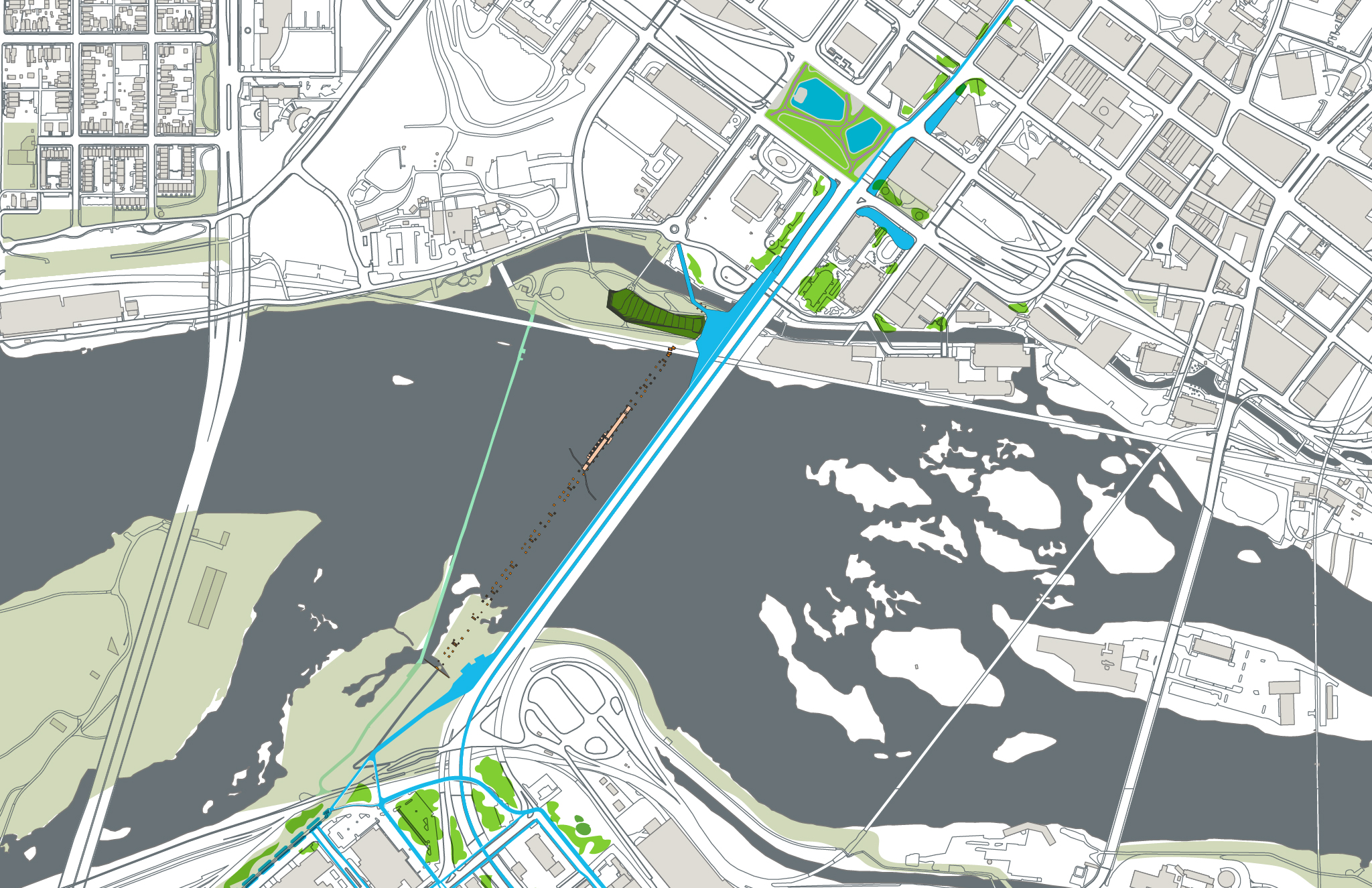 Detail of river-crossing section: Kanawha Plaza to Brown's Island to BridgePark to Second Break Park; green spaces connected by human-scale pathways and plantings