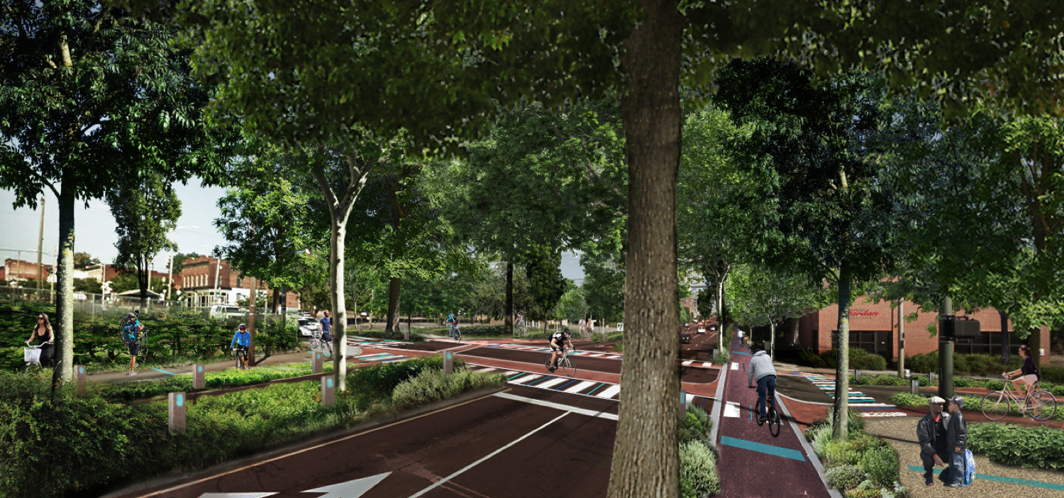 Hull Street and Commerce Street After: Seamless walking and bicycling routes with a beautiful riparian overlay leading visitors to the James River to the north and to the booming Hull Street corridor to the South