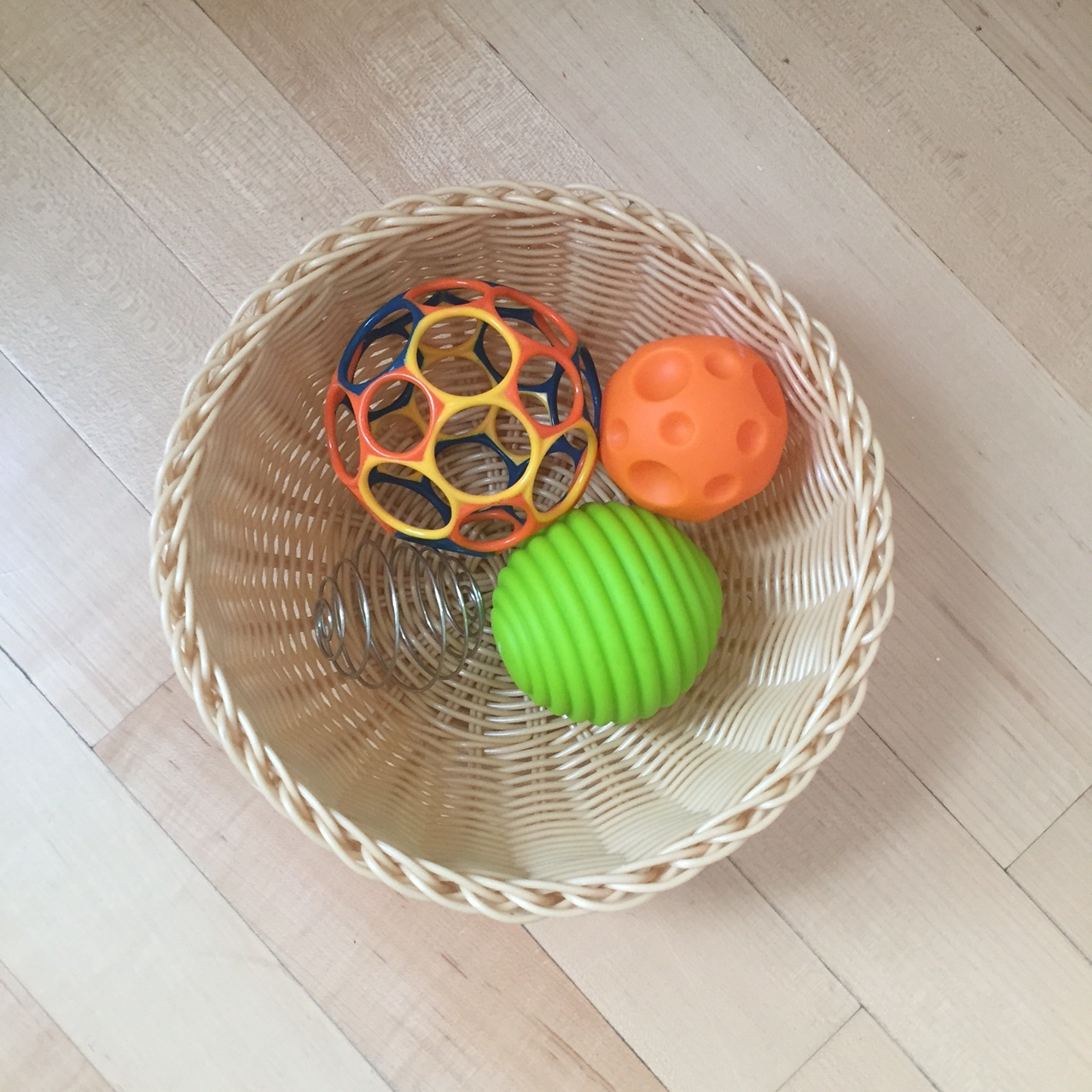oball in basket with other balls