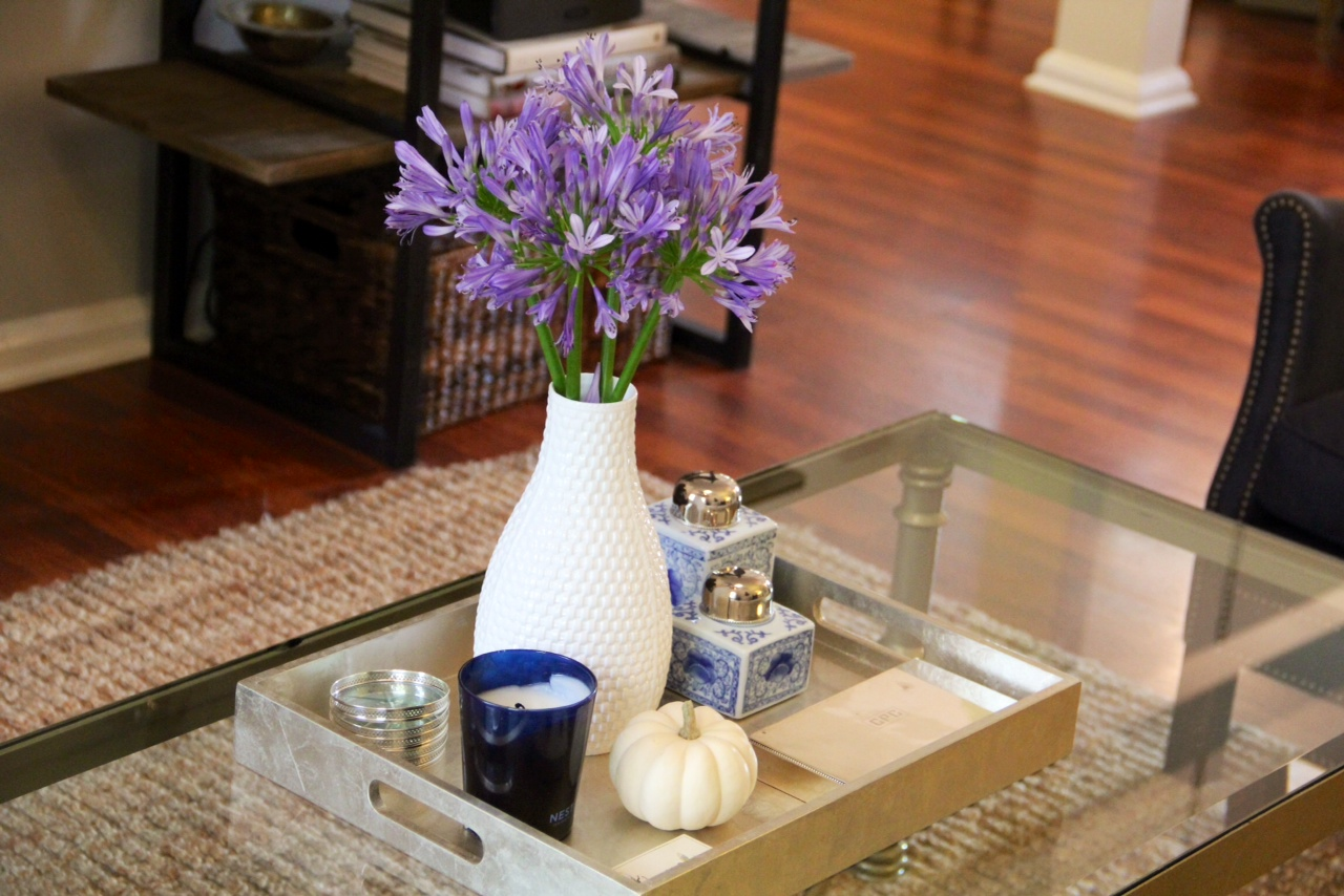 Nest Fragrances Blue Garden Candle was the perfect addition to this blue and white themed coffee table.