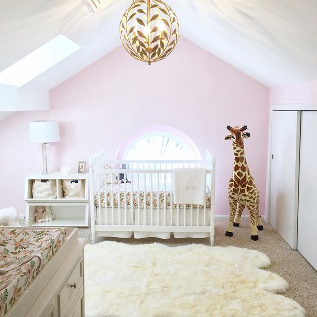 "My husband and I joke about Baby K's ""master suite."" Clearly we're both struggling with a case of bedroom envy😂 #stillpregnant #babynursery #iviebaby #glitterguide #mypotterybarn #serenaandlily #babygirl #skr #projectnursery"
