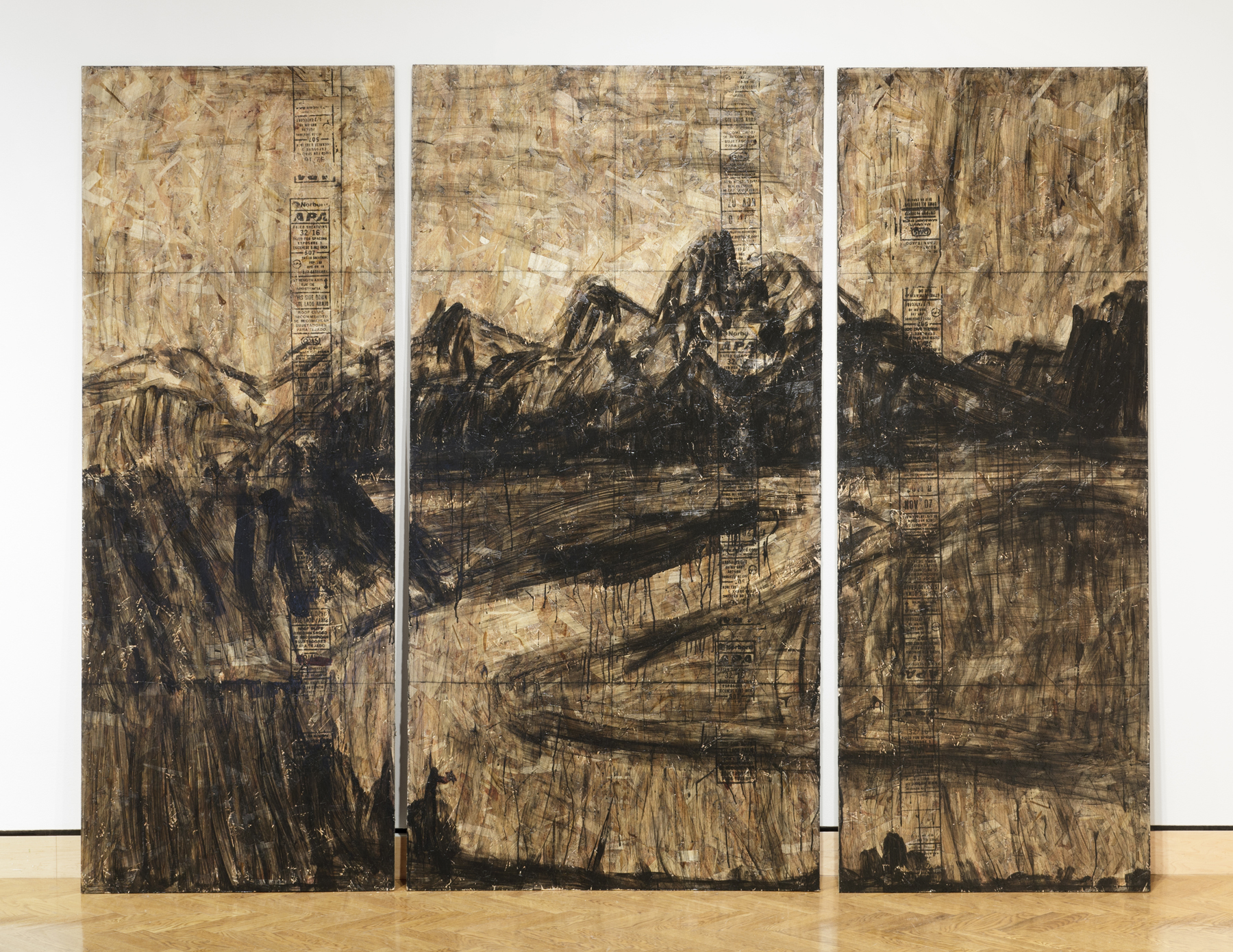 The Tetons and the Snake River (after Ansel Adams)  Acrylic on OSB, 2012.  96 by 120 inches.