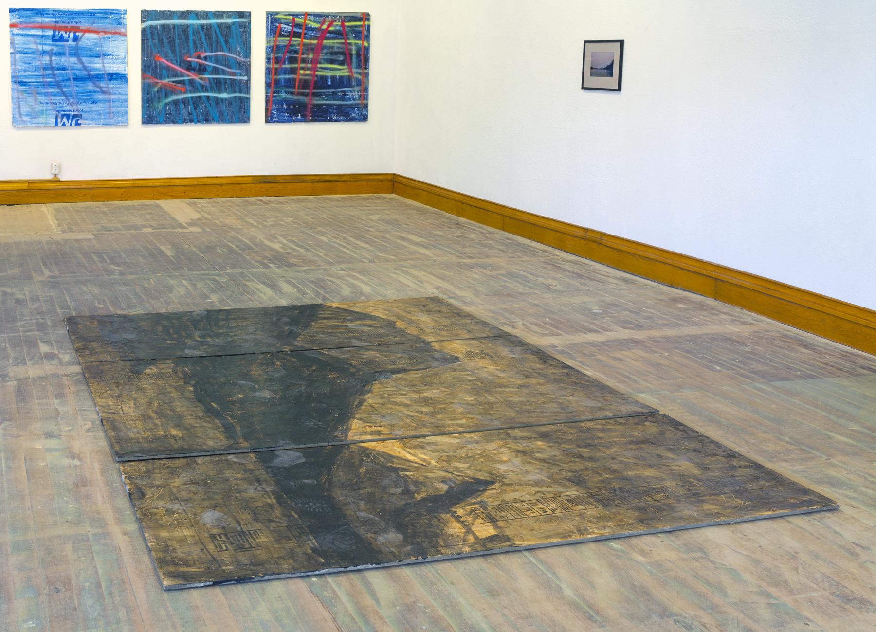 St Mary's Lake  (etc) installed on the floor,   Alaska  at Nemeth Art Center.