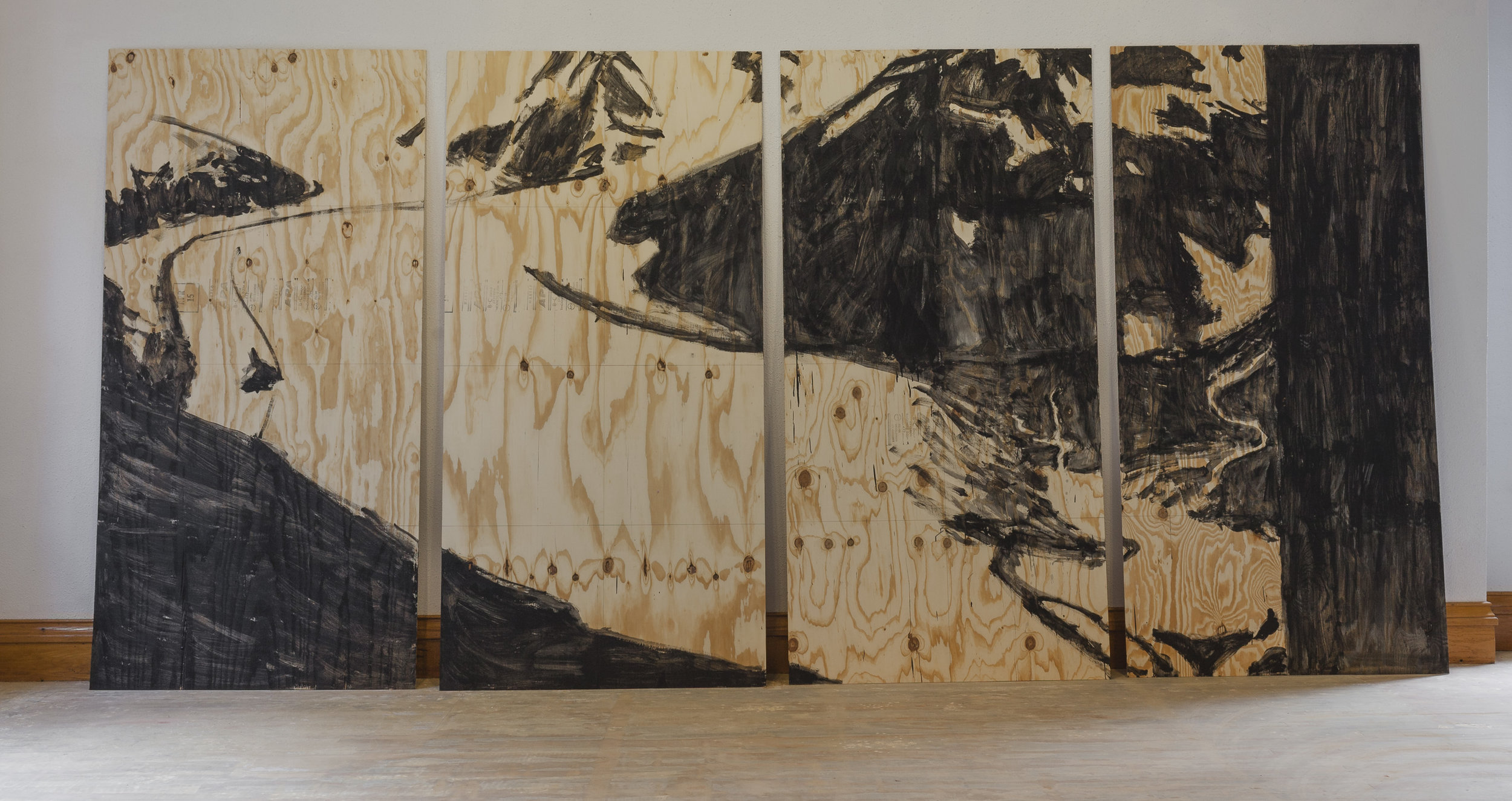 Portage Glacier, 1914.   Acrylic on plywood. 8x16 feet.