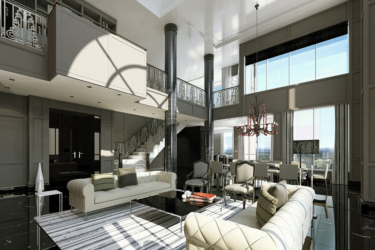 Astoria Penthouses  Downtown Calgary 2005  Concept renderings for two executive penthouse suites that were designed for the Astoria on 10th residential tower. A sophisticated design with Art Deco inspiration throughout.