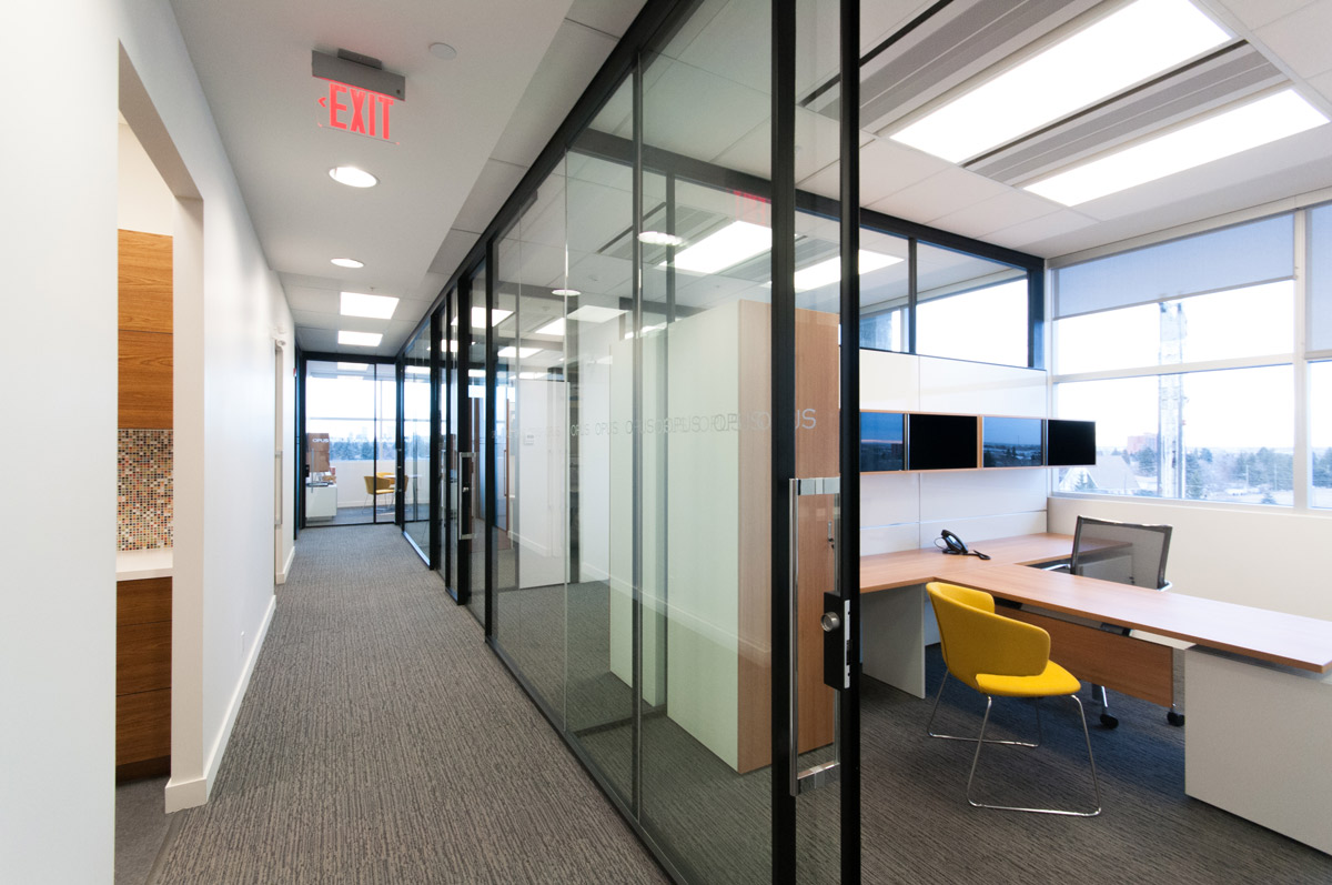Opus Corp Britannia Crossing, Calgary 2015  Opus' office space features a dramatic combination of contemporary and classic design. This wellness-focusedproject features an chef's kitchen, staff lounge, fitness centre and shower facilities.