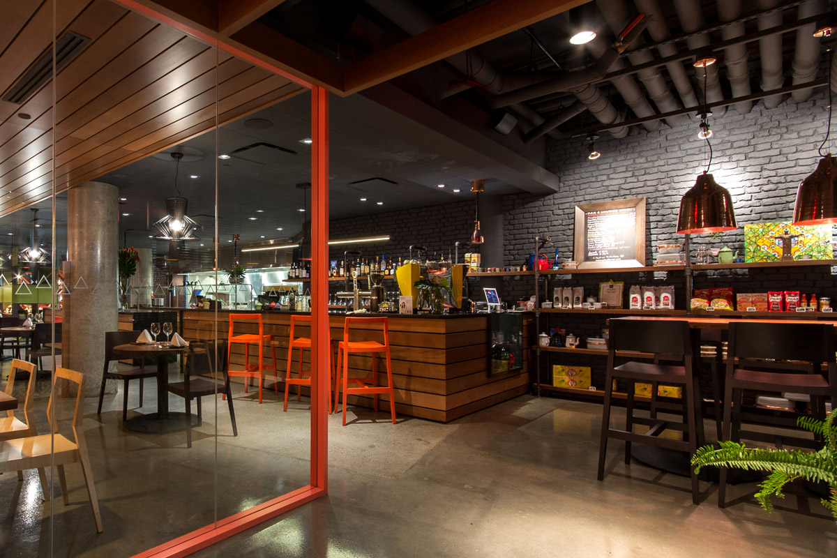 Minas Brazilian Steakhouse Eau Claire Calgary,2015  Minas Brazilian Steakhouse offers traditional Brazilian food in a contemporary setting. A bold colour palette and aneclectic mix of finishes and fixtures suit Minas' energetic and lively vision.