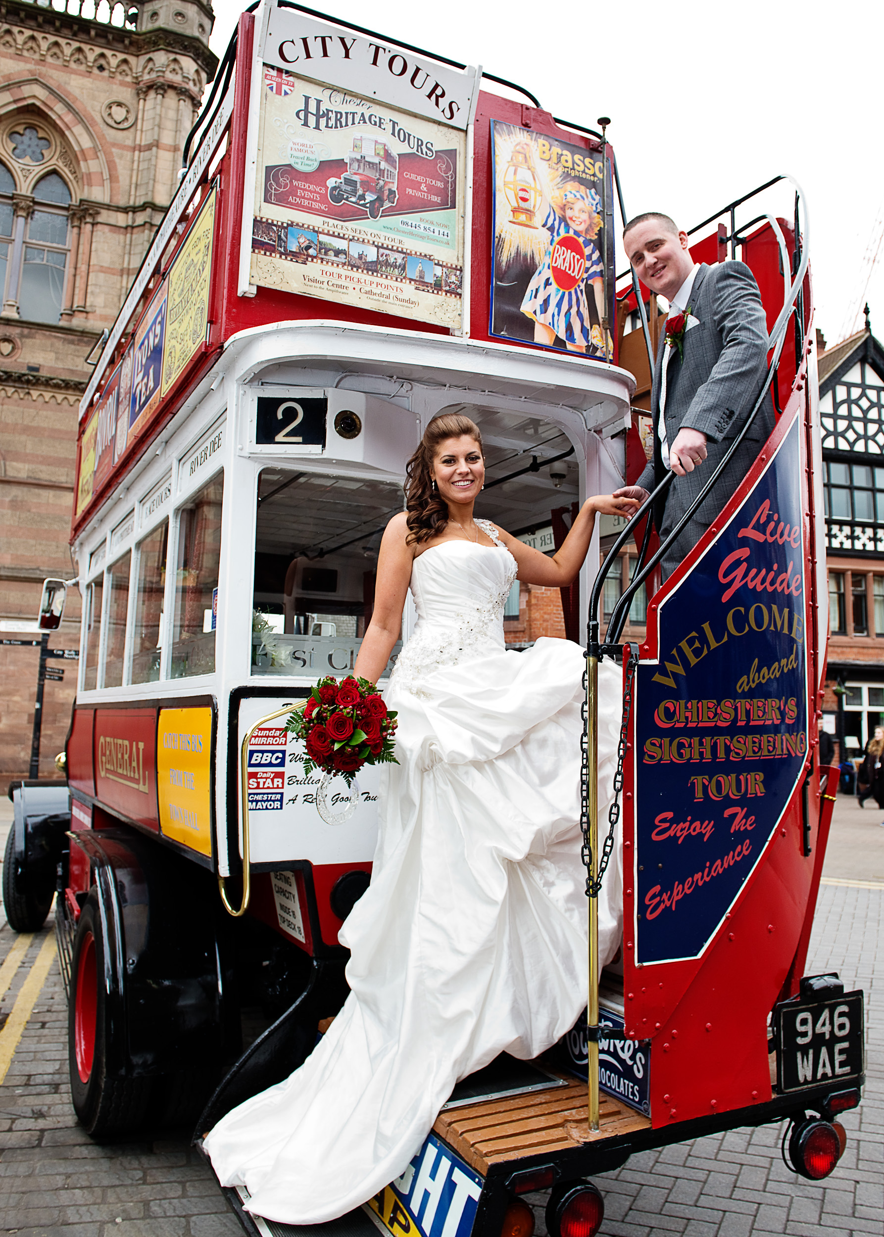 Town Hall Chester wedding - the vintage bus driver and conductor kindly let us take some pictures