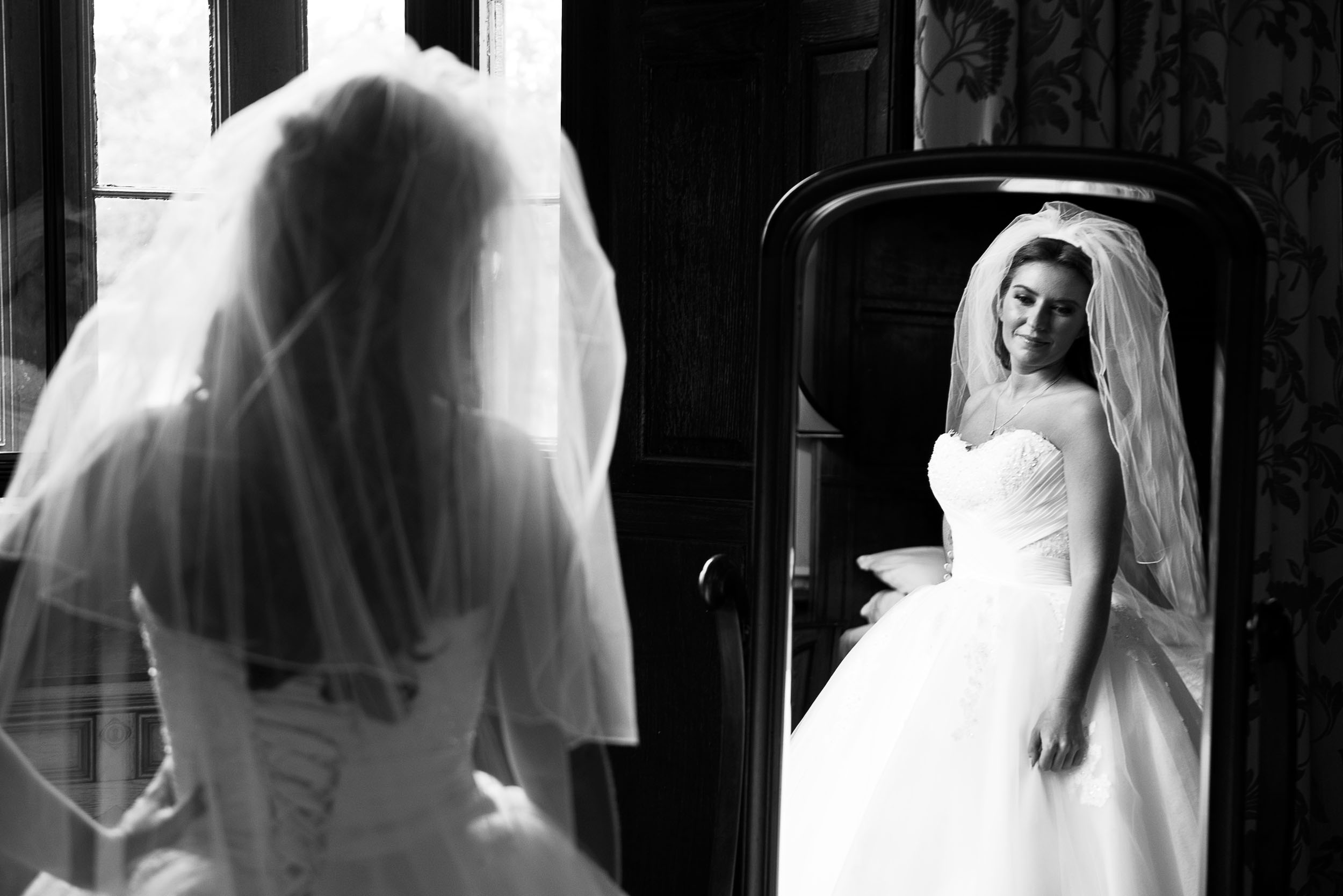 That mirror shot can capture an inner thought. But what is such a beautiful bride thinking?