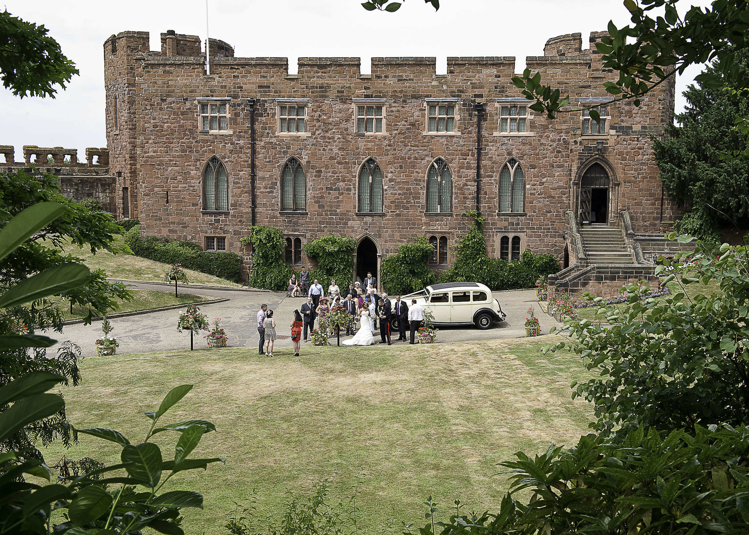 Drinks reception on the drive and lawn in Shrewsbury Castle.