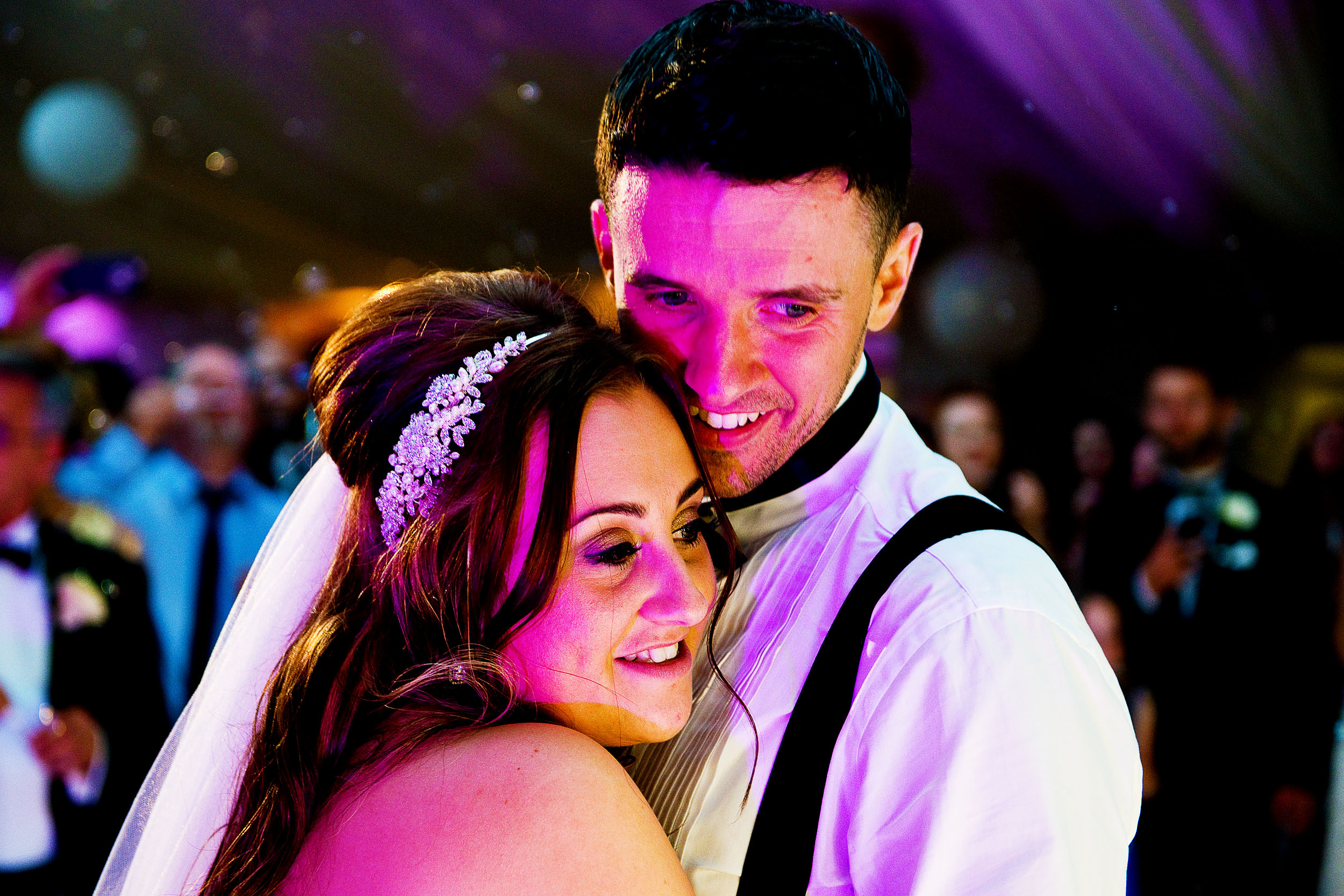 Disco lights are the closest to Hollywood lighting at a wedding. This was  Wrenbury Hall  in Cheshire