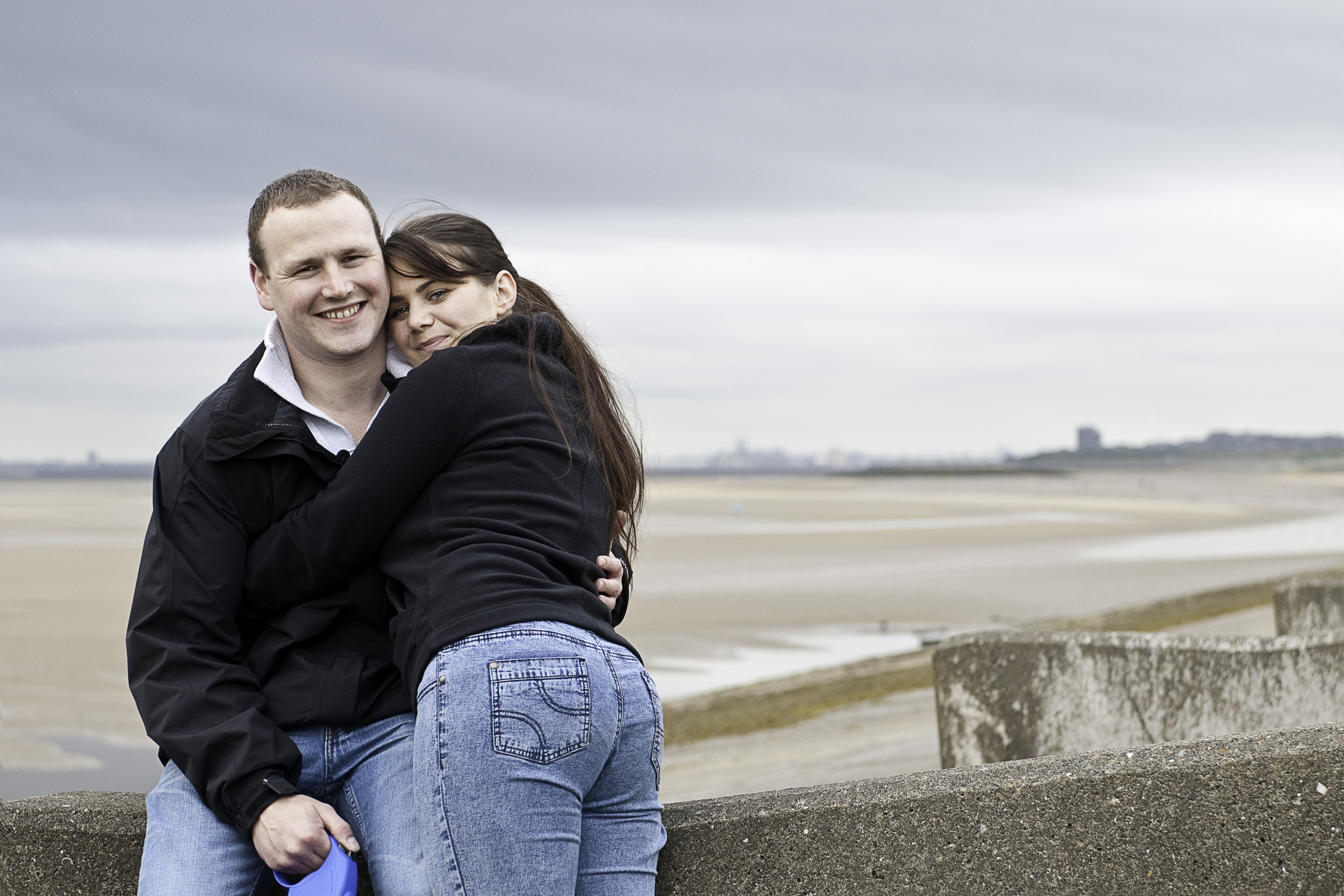 One of my first engagement shoots this lovely couple enjoyed walking along the coastal path, views of Liverpool in the background.