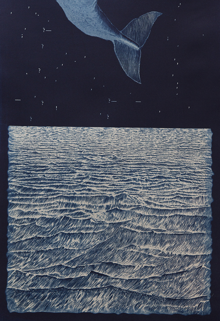 Tail's Away   Andrew Seguin  6x9, Edition of 5, signed and numbered Archival inkjet print from cyanotype original