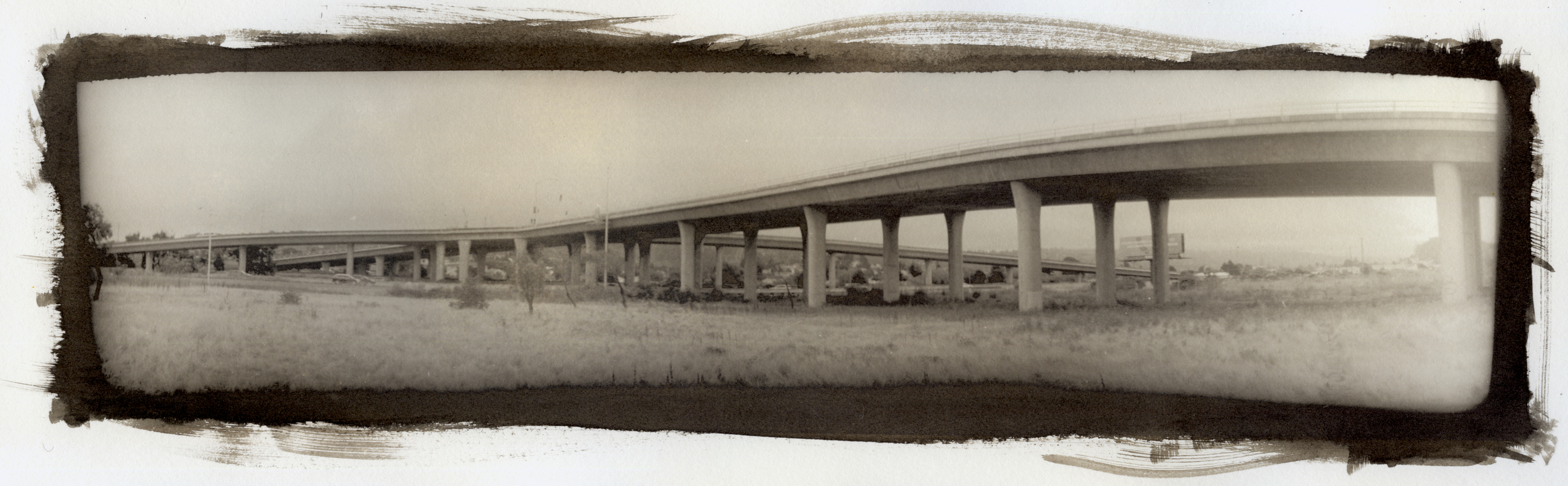 Bay View Off-ramp , Platinum print from Ostby's 3D-printed panoramic camera.