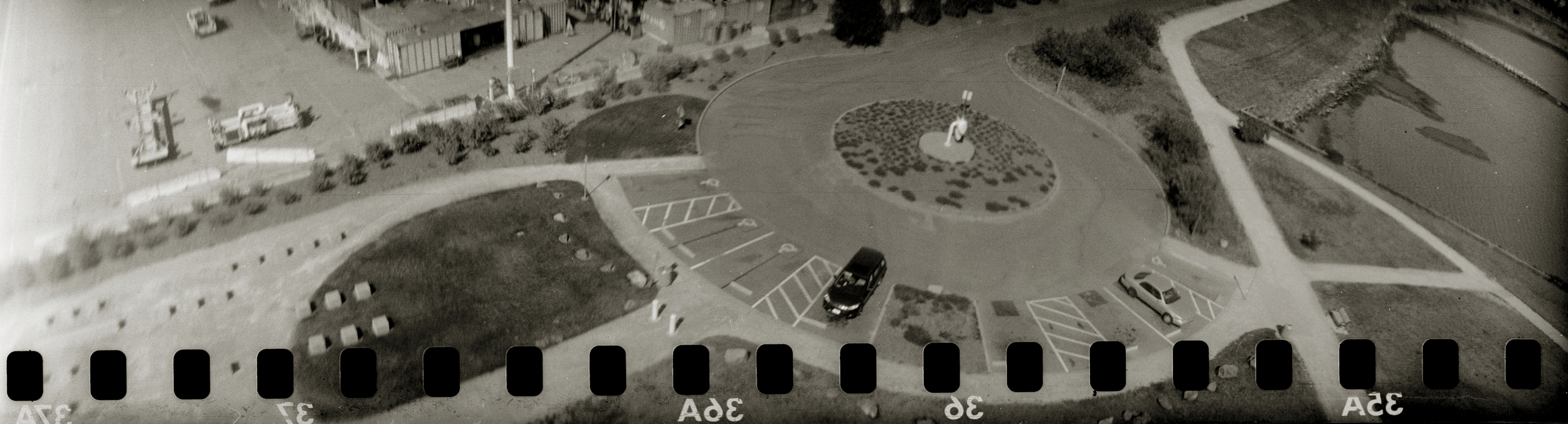 Above Oakland , photo from 3D-printed camera from kite above the San Francisco Bay.
