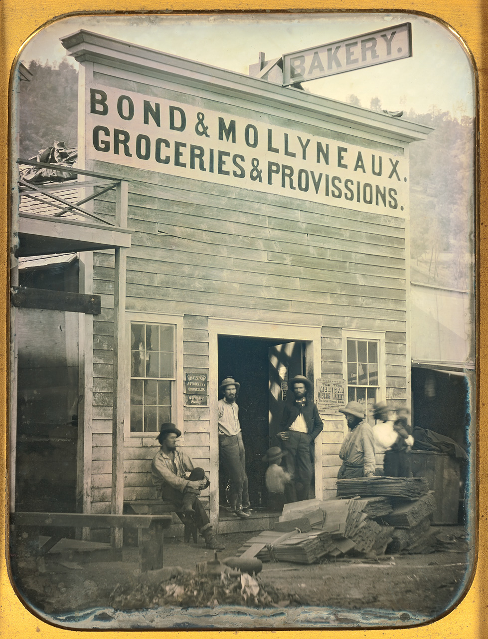 Unknown maker, American.  Bond & Mollyneaux Groceries and Provisions , ca. 1850. Daguerreotype, whole plate, image size: 8 ½ x 6 ½ inches. Gift of the Hall Family Foundation, 2008.6.3. © Nelson Gallery Foundation.