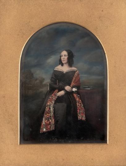 Unknown maker, British.  Portrait of a woman in shawl , 1847. Daguerreotype, three-quarter plate, image size: 8 1/8 x 5 1/2 inches. Gift of the Hall Family Foundation, 2010.18.44. © Nelson Gallery Foundation.