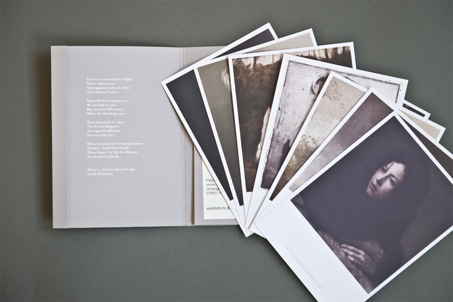 The seven beautiful matte finish postcards are themselves a sort of mini-exhibition. There are enough to get a sense of Sibthorp's style and versatility and each one feels precious. The folder itself has a faux-brushed texture that alludes to the textures in his work.