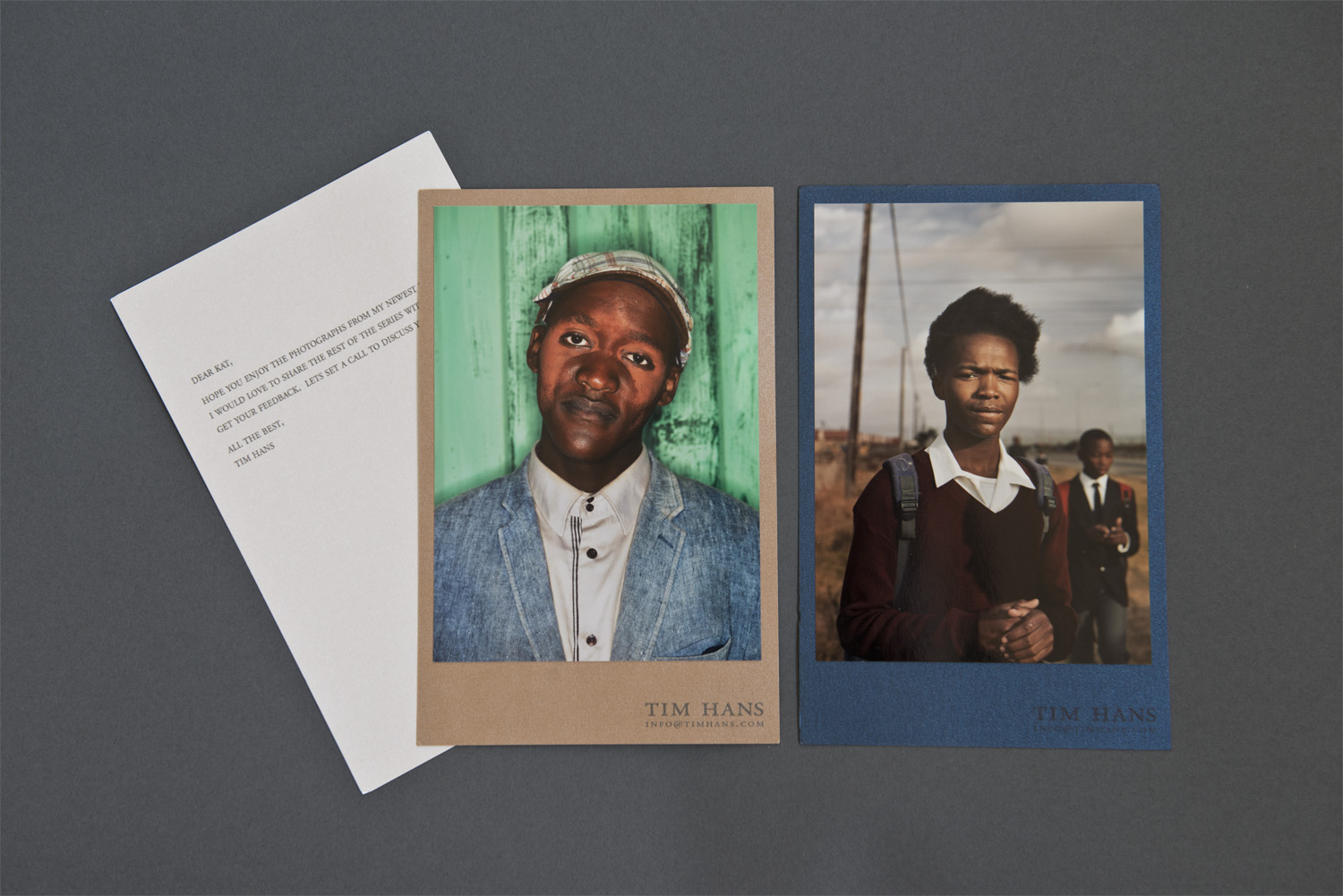 Sometimes photographers send submission packets that contain virtually no information about who they are and what intentions they have for their work. Other times we receive novellas of the artist's life story and aspirations. Tim Hans' portfolio sample was just the right balance. He included a letter of introduction that was short, to the point, and not presumptuous, while still making it clear that he wished to discuss the work further.  The two images included are on metallic paper to provide a sense of what the exhibition print quality might be. The shiny colored papers they are mounted on are an unusual choice, but coordinate well with the prints and contain his contact information. By mounting the prints onto these cards, Hans creates a professional presentation with a handmade feel.