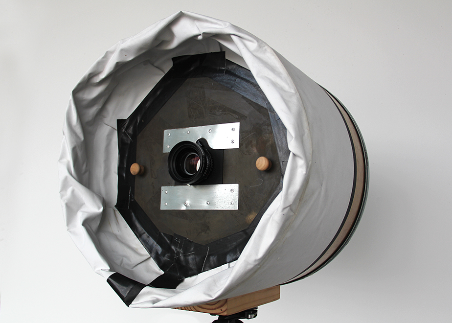 Camera modified for blown glass plates.
