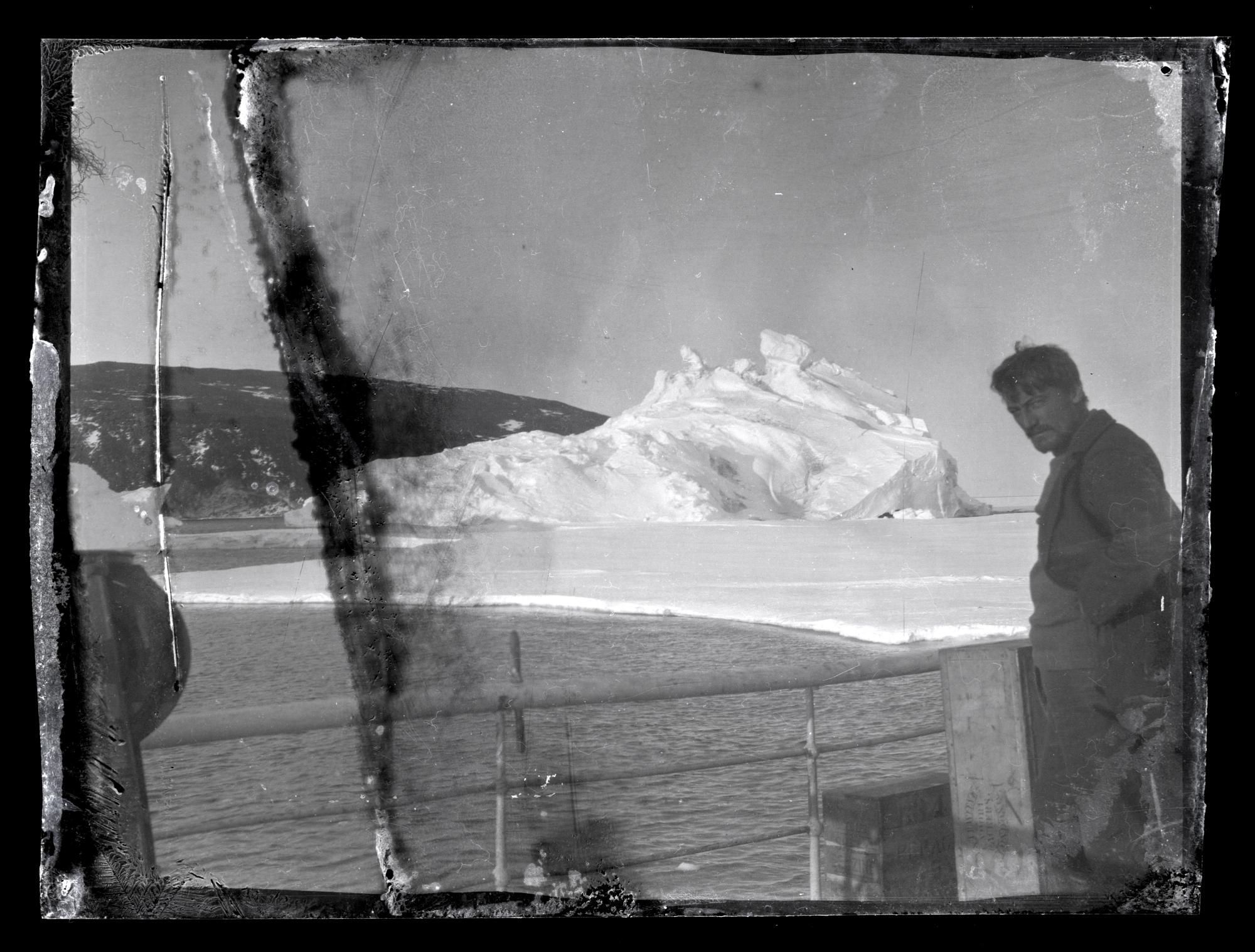 Alexander Stevens on the deck of the  Aurora , McMurdo Sound, Antartctica. Photo:  Antarctic Heritage Trust .