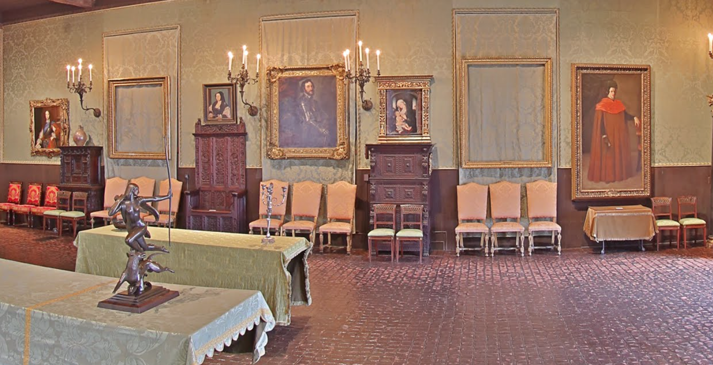Empty frames where stolen works once hung in the Isabella Stewart Gardner Museum.  Screenshot from  virtual heist tour .