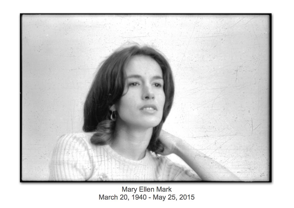 Screenshot of Mary Ellen Mark's studio website announcing her death.