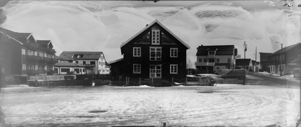Photograph made with giant pinhole camera.