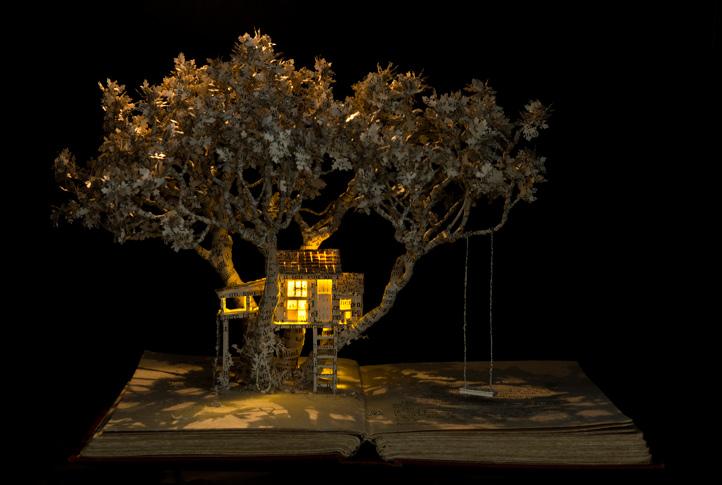 The House in the Oak Tree , 2015, book-cut sculpture