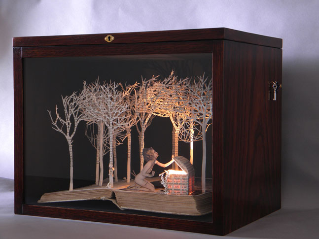 Pandora Opens the Box , 2009, book-cut sculpture