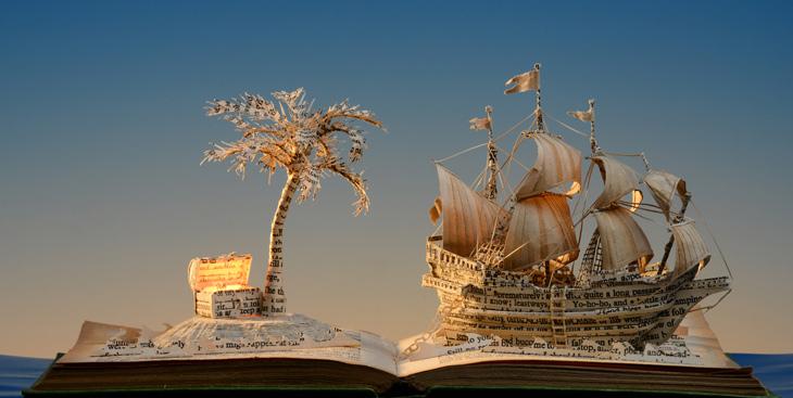 Treasure Island , 2013, book-cut sculpture