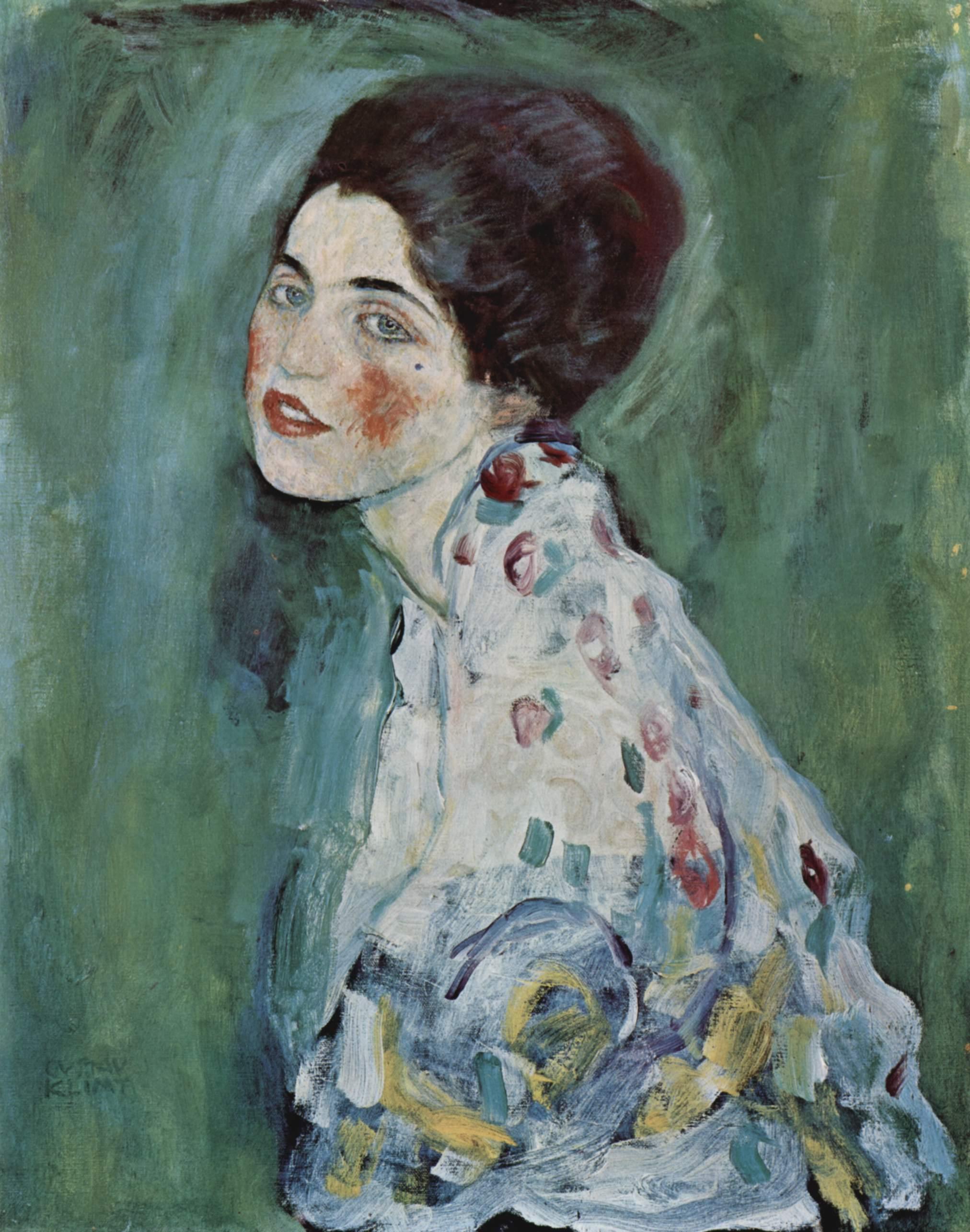 Porträt enier Dame  by Gustav Klimt via  Wikimedia Commons