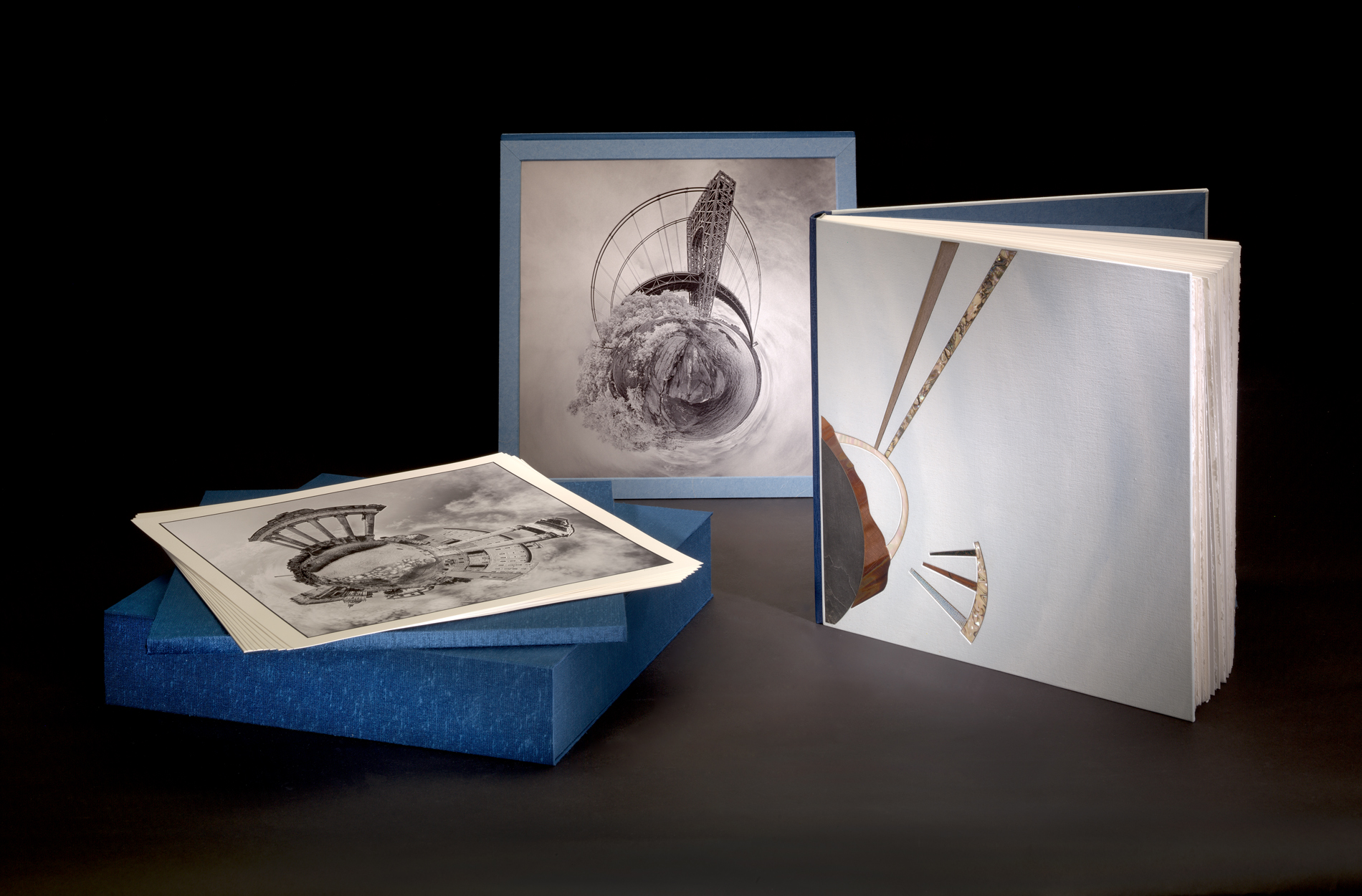 Worlds Apart  bound book, prints, and sculpture