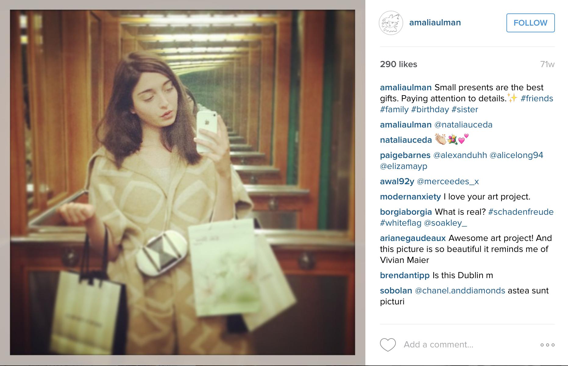 Screenshot of Amalia Ulman's Instagram.