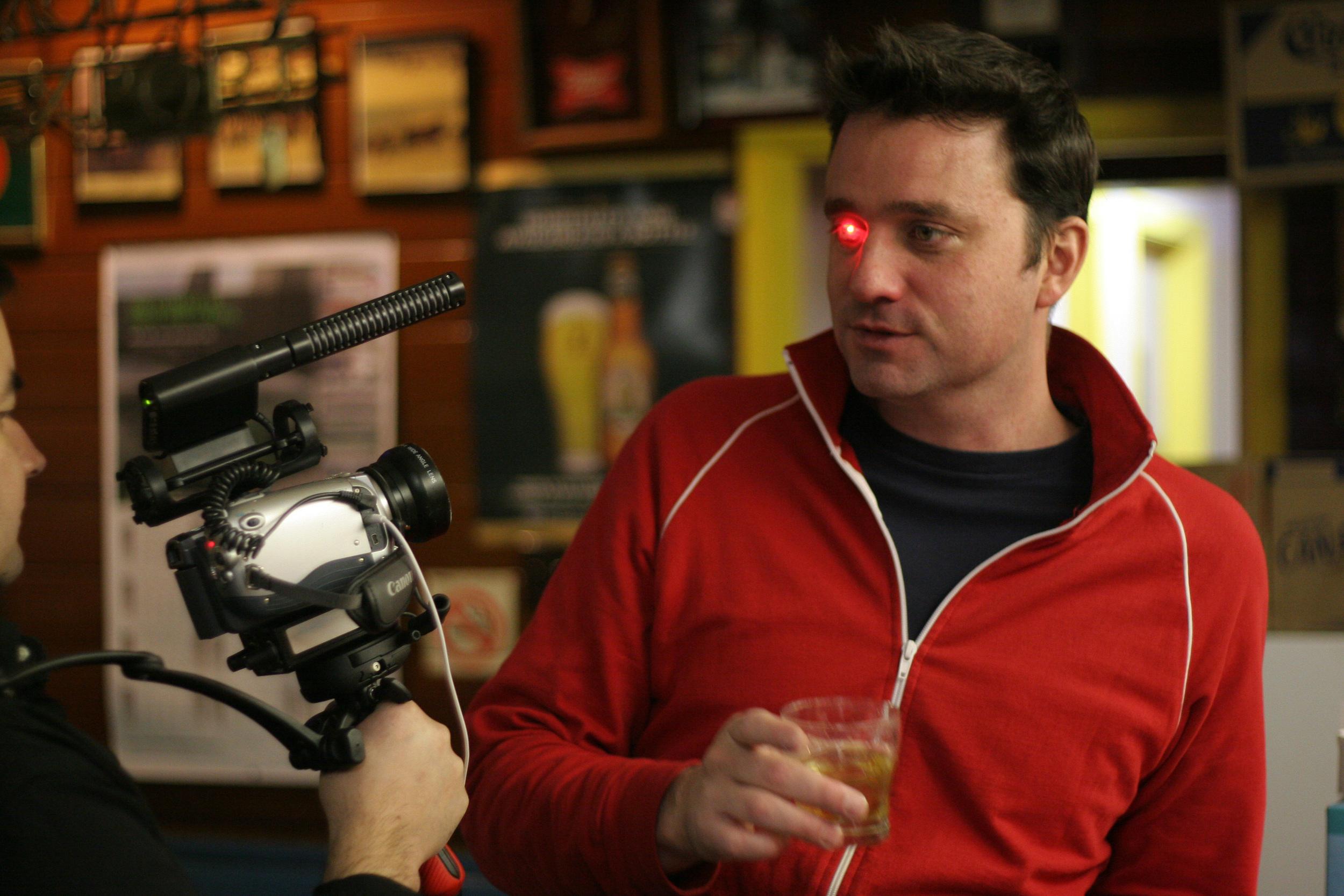 "Rob Spence ""Eyeborg"" demonstartes the LED light. Photo courtesy of Eyeborg."