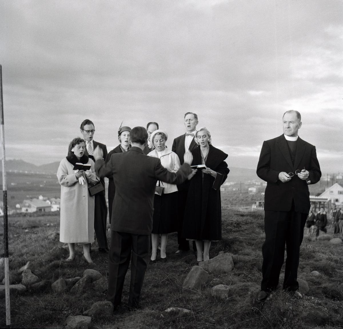 Sigurhans Vignir (1894-1975) Ground-breaking ceremony for Kópavogur Church, 1958.