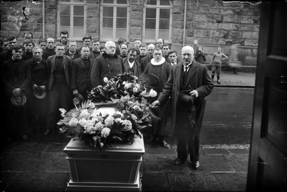 Magnús Ólafsson (1862-1937) Funeral from Reykjavík Cathedral, 1925-1930.