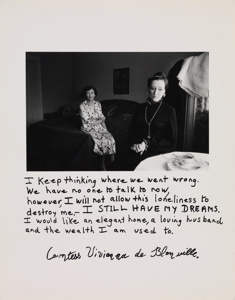 Jim Goldberg,  Countess Vivianna de Blonville , from the series  Rich and Poor , 1982; promised gift of Robert Mailer Anderson and Nicola Miner; © Jim Goldberg; photo: Don Ross