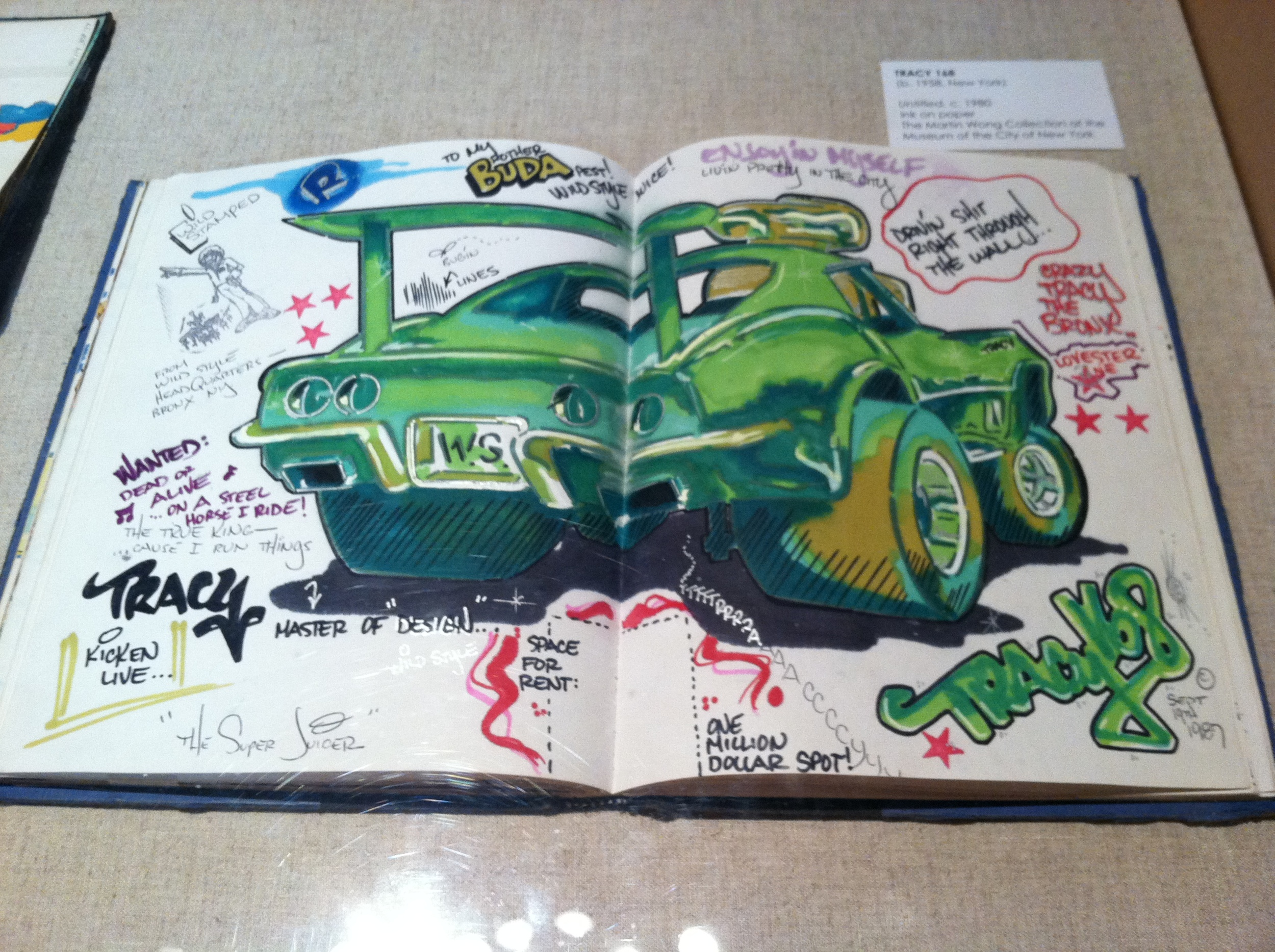 """""""The Super Juicer"""" by Tracy 168, Enclosed in """"the Blue Black Book"""", originally owned by Deadly Buda, now in the Martin Wong Collection, Museum of the City of New York.  Photo by the Elizabeth Harris, 2011."""