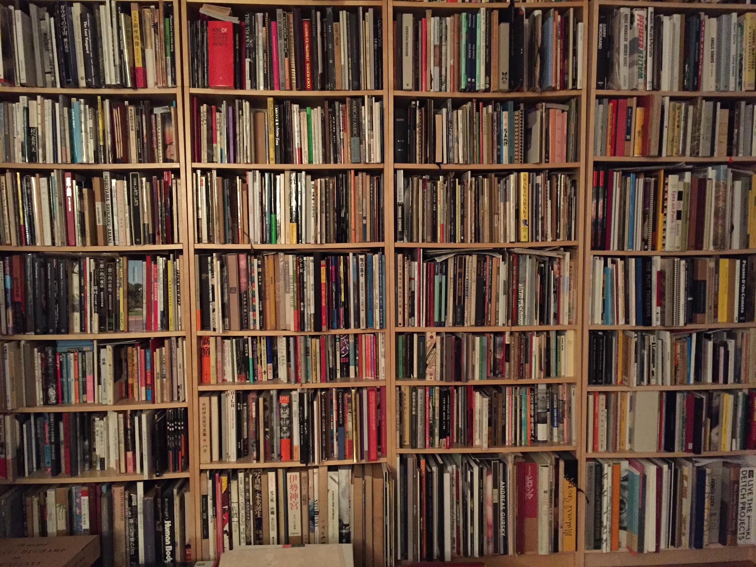 John Gossage's wall of books.