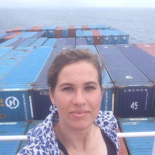 Rebecca Moss on the Hanjin container ship. Courtesy of Rebecca Moss, via Facebook.