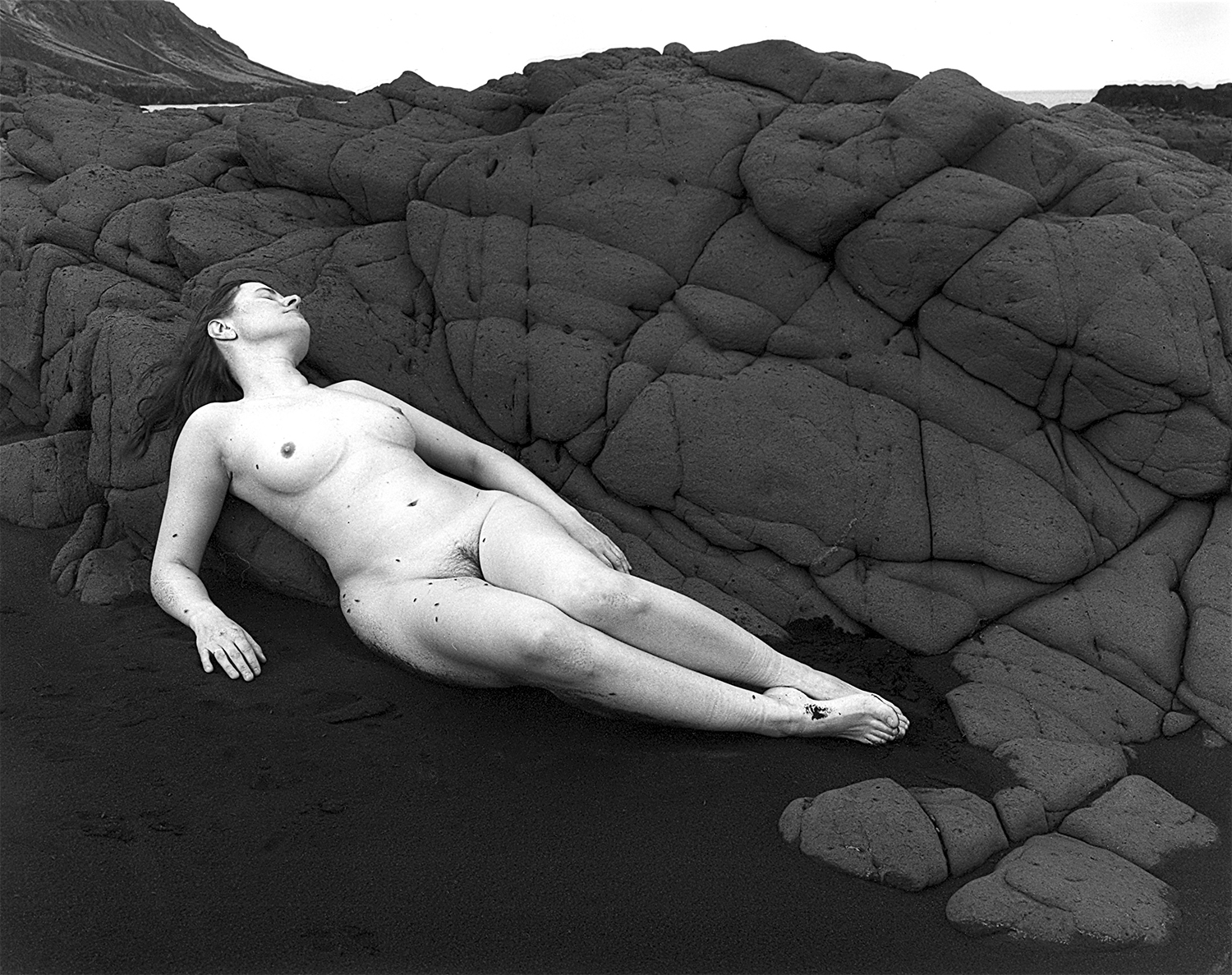 Agnieszka Sosnowska   Nude, Self-portrait, Landsendi, Iceland, 2012  Selenium toned silver gelatin print 7 x 9, signed and numbered edition of 10 $185